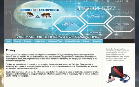 Screenshot of Privacy Page doublebee.ca - Privacy | Double Bee Enterprises - captured Oct. 5, 2014