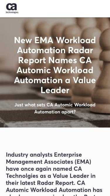 Screenshot of Landing Page  ca.com - New EMA Workload Automation Radar Report Names CA Automic Workload Automation a Value Leader - CA Technologies