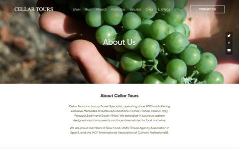 Screenshot of About Page cellartours.com - Cellar Tours is a Luxury Travel Specialist, operating since 2003 - captured July 16, 2018