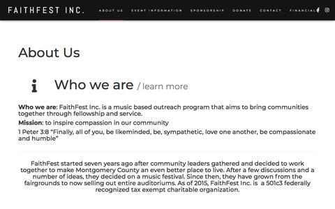 Screenshot of About Page faith-fest.com - About Us – FaithFest Inc. - captured July 3, 2019
