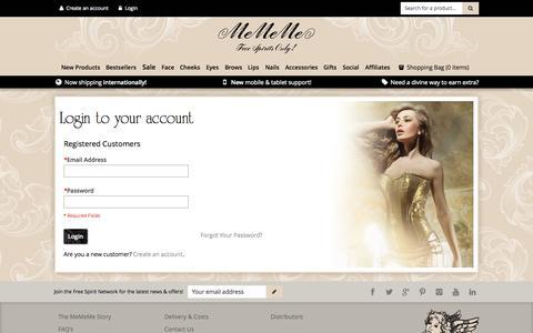Screenshot of Login Page mememecosmetics.com - Customer Login - captured Oct. 27, 2014