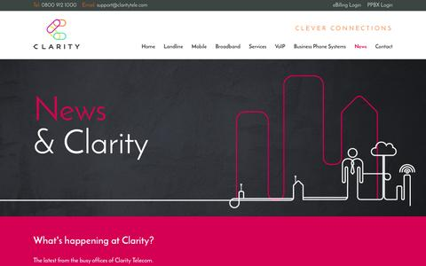 Screenshot of Press Page claritytele.com - News | Clarity Telecom - captured Jan. 28, 2016