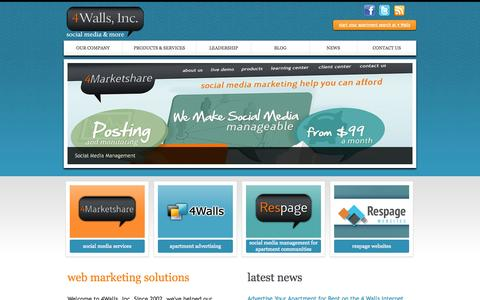 Screenshot of Home Page 4walls.net - 4 Walls, Inc. — Social Media Management – Social Media Marketing – Internet Advertising - captured Sept. 25, 2014