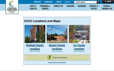 Screenshot of Locations Page cccc.edu - Locations, CCCC - Central Carolina Community College - captured Nov. 10, 2018