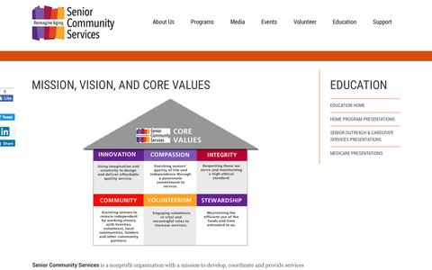 Screenshot of About Page seniorcommunity.org - Mission, Vision, and Core Values - Senior Community Services - captured Dec. 3, 2016