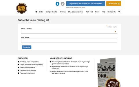 Screenshot of Signup Page dnamydog.com - DNA My Dog: Email sign ups - captured July 31, 2016