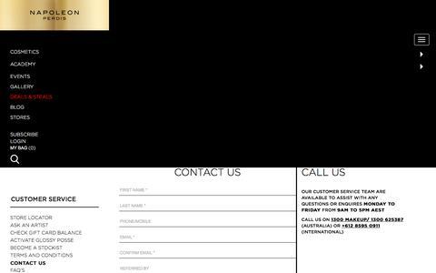 Screenshot of Contact Page napoleonperdis.com - Contact Us - captured Feb. 15, 2016