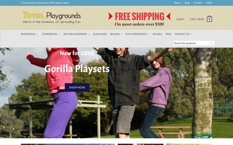 Screenshot of Home Page totalplaygrounds.com - Commercial and Residential playground equipment, ziplines, and backyard fun - captured Nov. 17, 2015