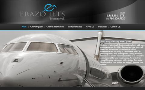 Screenshot of Home Page erazojets.com - Erazo Jets International | Air Charter | Private Jet Hire - captured Oct. 2, 2014