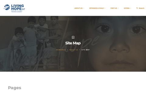 Screenshot of Site Map Page lovehopemercy.org - Site Map - Living Hope International - captured Sept. 29, 2018