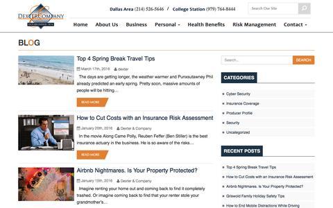 Screenshot of Blog dextercompany.net - Blog - Dexter Insurance | Dexter Insurance - captured April 18, 2016