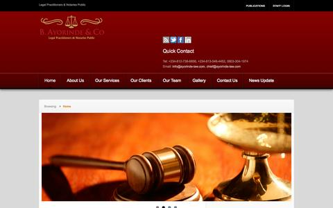 Screenshot of Home Page Privacy Page ayorinde-law.com - B.Ayorinde & Co. | Legal Practitioners & Notaries Public - captured Oct. 2, 2014