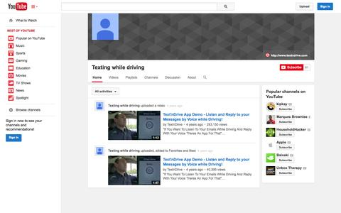 Screenshot of YouTube Page youtube.com - Texting while driving  - YouTube - captured Oct. 26, 2014