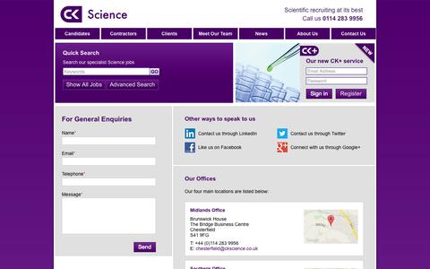 Screenshot of Contact Page ckscience.co.uk - CK Science - News | CK Science - captured Sept. 26, 2014