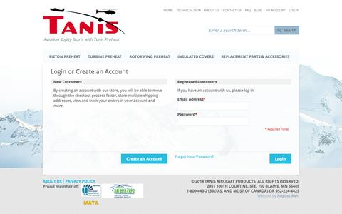 Screenshot of Login Page tanisaircraft.com - Customer Login - captured Nov. 5, 2014