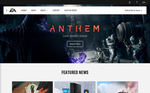 Screenshot of Home Page ea.com - Electronic Arts Home Page - Official EA Site - captured Dec. 8, 2018