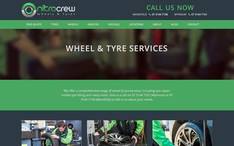Screenshot of Services Page nitrocrew.com.au - Tyre Services, Wynnum & Mansfield - Nitro Crew - captured Nov. 30, 2016