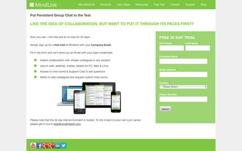 Screenshot of Trial Page mindlinksoft.com - 30-Day Enterprise Chat Trial - captured Oct. 6, 2014