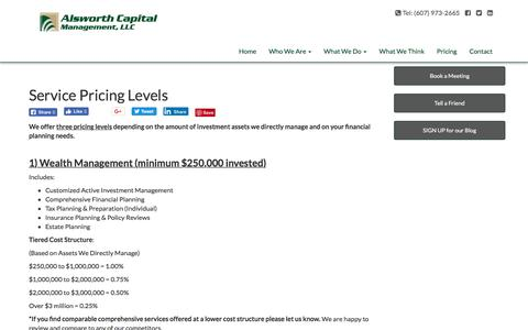 Screenshot of Pricing Page alsworthcapital.com - Service Pricing Levels | Alsworth Capital Management, LLC - captured July 5, 2018