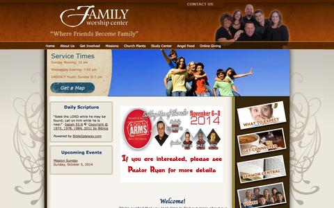 Screenshot of Home Page fwcgc.com - Family Worship Center  - Grant County - Williamstown, KY - captured Oct. 5, 2014