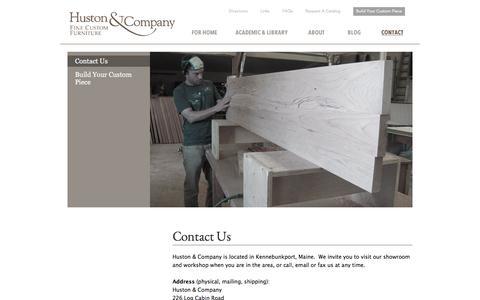 Screenshot of Contact Page hustonandcompany.com - Contact for Custom Maine Made Furniture   Huston and Company - captured Aug. 26, 2017