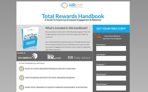 Screenshot of Landing Page hrsoft.com - Improve Employee Engagement & Retention with Total Rewards Software - captured Sept. 6, 2016