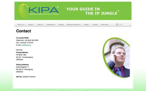 Screenshot of Contact Page kipa.se - Krahbichler Intellectual Property Advisors | Contact - captured Oct. 6, 2014