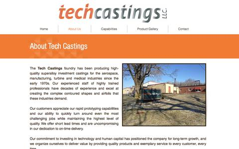 Screenshot of About Page techcastings.com - Tech Castings LLC - About Us - captured Nov. 29, 2016