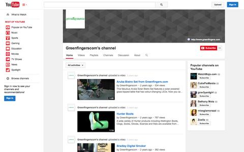 Screenshot of YouTube Page youtube.com - Greenfingerscom's channel  - YouTube - captured Oct. 23, 2014
