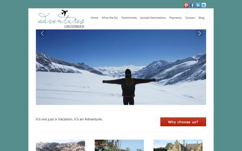 Screenshot of Home Page adventuresuncorked.com - Welcome to Adventures Uncorked - captured Sept. 30, 2014