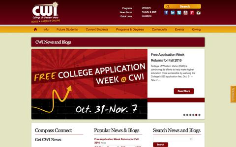 Screenshot of Press Page cwidaho.cc - CWI News and Blogs   College of Western Idaho - captured Nov. 9, 2016