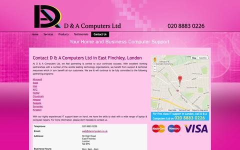 Screenshot of Contact Page dacomputers.co.uk - Contact Us For All Your IT Support Needs In East Finchley, London - captured Oct. 3, 2014