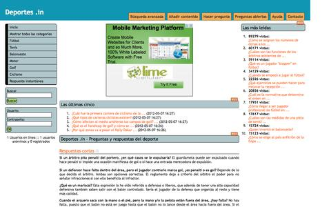 Screenshot of Home Page deportes.in - Deportes .in - Preguntas y respuestas sobre deporte - captured Oct. 8, 2015