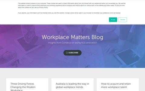 Screenshot of Blog condecosoftware.com - Powering Change In The Workplace | Condeco Software | Industry Insights - captured Jan. 22, 2019