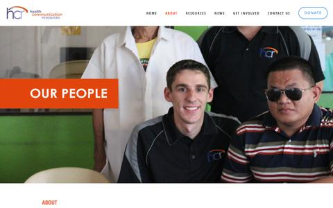 Screenshot of Team Page h-c-r.org - Our People Ń Health Communication Resources - captured Dec. 5, 2015