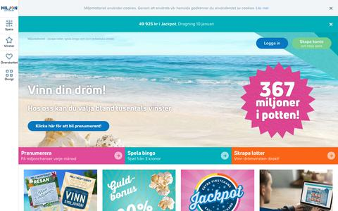 Screenshot of Home Page miljonlotteriet.se - Miljonlotteriet - Spela online och vinn drömvinster! - captured Sept. 20, 2018