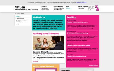 Screenshot of Jobs Page natcen.ac.uk captured Dec. 7, 2016