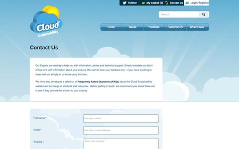 Screenshot of Contact Page cloudsustainability.com - Contact Us | Cloud Sustainability - captured Sept. 13, 2014
