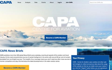 Screenshot of Press Page centreforaviation.com - News for Airlines, Airports and the Aviation Industry | CAPA - captured May 22, 2018