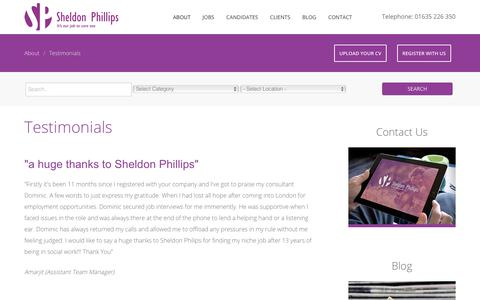 Screenshot of Testimonials Page sheldon-phillips.com - UK Recruitment Agency Specialised in Social Care, Health Carers | Testimonials | Sheldon Phillips - captured Oct. 24, 2017