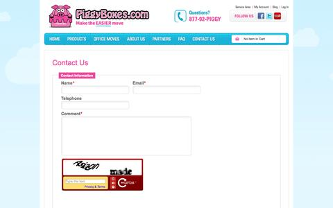 Screenshot of Contact Page piggyboxes.com - Piggy Boxes - captured Oct. 2, 2014