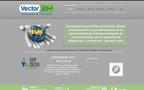 Screenshot of Home Page vectorem.com - www.vectorem.com, comercio exterior, asesoria, Juan Carlos Rondon - captured Sept. 5, 2015