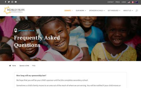 Screenshot of FAQ Page worldhope.ca - Frequently Asked Questions | World Hope Canada - captured Dec. 3, 2018