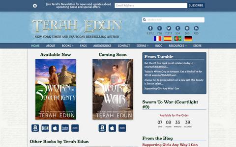 Screenshot of Home Page terahedun.com - Terah Edun   New York Times Bestselling Author - captured July 22, 2016