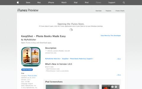 Screenshot of iOS App Page apple.com - KeepShot - Photo Books Made Easy on the App Store on iTunes - captured Oct. 22, 2014