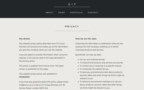 Screenshot of Privacy Page cit.co.uk - Privacy - CIT - captured Oct. 6, 2016
