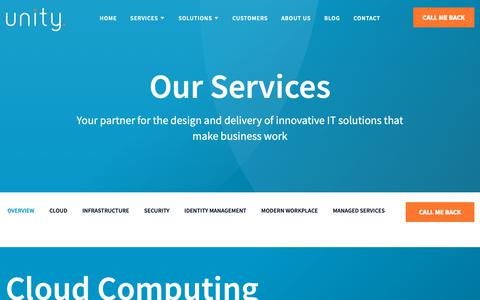 Screenshot of Services Page unity.ie - Services | Unity Technology Solutions - Unity Technology Solutions - captured Oct. 20, 2018