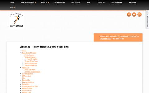 Screenshot of Site Map Page b2hchiro.com - Site map - Front Range Sports Medicine - captured Oct. 5, 2018