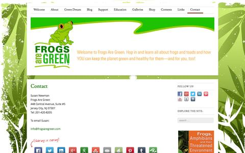 Screenshot of Contact Page frogsaregreen.org - Contact Susan Newman, founder of Frogs Are Green - engaging the public and kids around the world through awareness and conservation issues | Frogs Are Green - captured Oct. 29, 2014