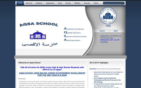 Screenshot of Home Page aqsa.edu - Aqsa School - captured Oct. 4, 2014